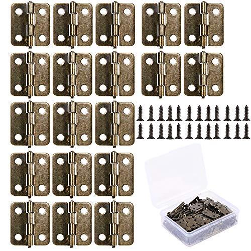 ManLee 50pcs Mini Bisagras Pequeñas de Acero Inoxidable 18 x16mm Bisagras de Libro Laton con Caja de Plastico y Tornillos Bisagras Retro para Cajas de Madera Armario Cajones Bronce