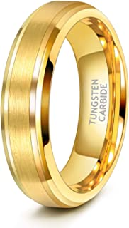 6mm 8mm Mens Womens Gold Tungsten Wedding Ring Band Brush Finish Scratch Resistant Size 5-14