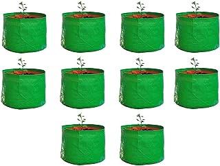 "KURUPPATH Group HDPE Uv Stabilized Grow Bag, Green and Orange, 9"" X 9"" (Set of 10)"