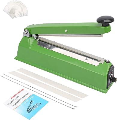 Hopeson - Sellador térmico por impulso (8 pulgadas, 100 bolsas de plástico transparente (4 x 6 pulgadas) y 2 elementos de sellado adicionales, color verde