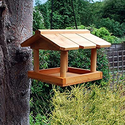 Other NEW HANGING WOODEN BIRD TABLE FEEDING STATION GARDEN BIRD TREE BRACKET HANG by a2z-discounts