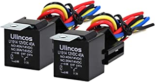 Ulincos Auto Relay U1914 with 14AWG Wire Harness, 12V DC 30/40A SPDT 5-Pin (Pack of 2)