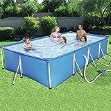 Dljyy Piscinas Infantiles Piscina casa de niños for Adultos Piscina for niños Grandes de Marco de Acero al Aire Libre Piscina Rectangular (Color : Blue, Size : 221 * 150 * 43cm)