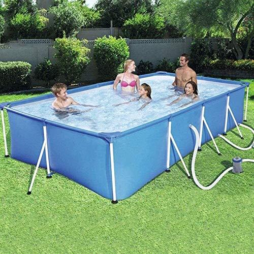 Dljyy Piscinas Infantiles Piscina casa de niños for Adultos Piscina for niños Grandes de Marco de Acero al Aire Libre Piscina Rectangular (Color : Blue, Size : 259 * 170 * 61cm)
