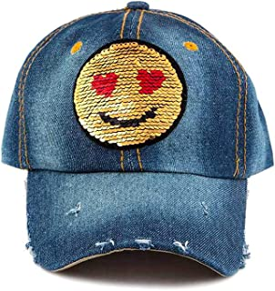 Heart Eyes Yellow Emoji Sequin Bling Ball Cap Sun Hat in Dark Blue Denim, One Size