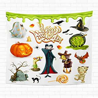 Topyee 60x80 Inch Tapestry Wall Hanging Halloween Pumpkin Ghost Spider Witch Vampire Candy Corn Cartoon Characters Home Decorative Tapestries Wall Blanket for Dorm Living Room Bedroom