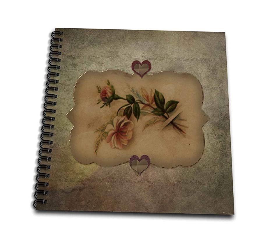 3dRose db_173105_1 Vintage Look Peach Roses and Hearts Drawing Book, 8 by 8-Inch