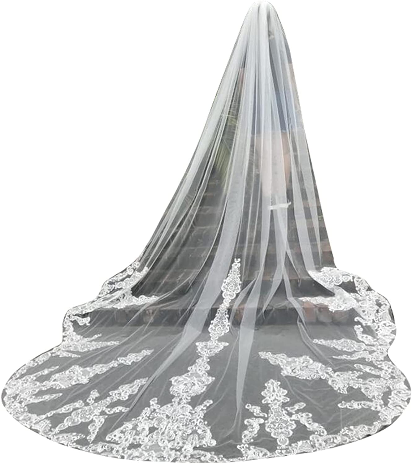 Lace Wedding Veils Cathedral 1 Tier for Bride with Comb Flower Train