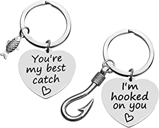 Couple Keychain Gifts I'm Hooked On You You're My Best Catch Keychain Set His and Her Gifts Fisherman Gifts Fishing Lure K...
