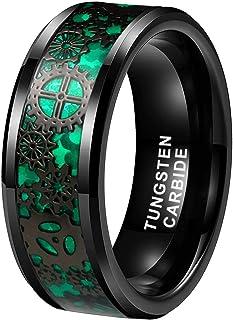 iTungsten 6mm 8mm Silver/Black Tungsten Rings for Men Women Steampunk Gear Wheel Blue Purple Green Red Carbon Fiber Inlay ...