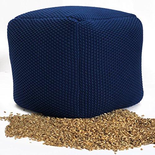 Vivrei Design Sitzpouf quadratisch Füllung aus Bio Natur Füllstoff Dinkel-Schalen Bezug Strick Baumwolle Sitzgelegenheit Fußhocker Sitzkissen (blau)