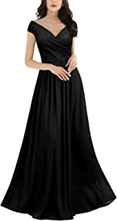 Miusol Women's Vintage Deep-V Neck Sleeveless Wedding Party Maxi Dress