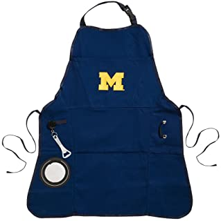 Team Sports America Collegiate University Of Michigan Ultimate Grilling Apron Durable Cotton with Beverage Opener and Multi Tool For Football Fans Fathers Day and More