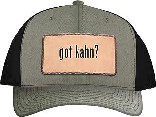One Legging it Around got kahn? - Leather Light Brown Patch Engraved Trucker Hat