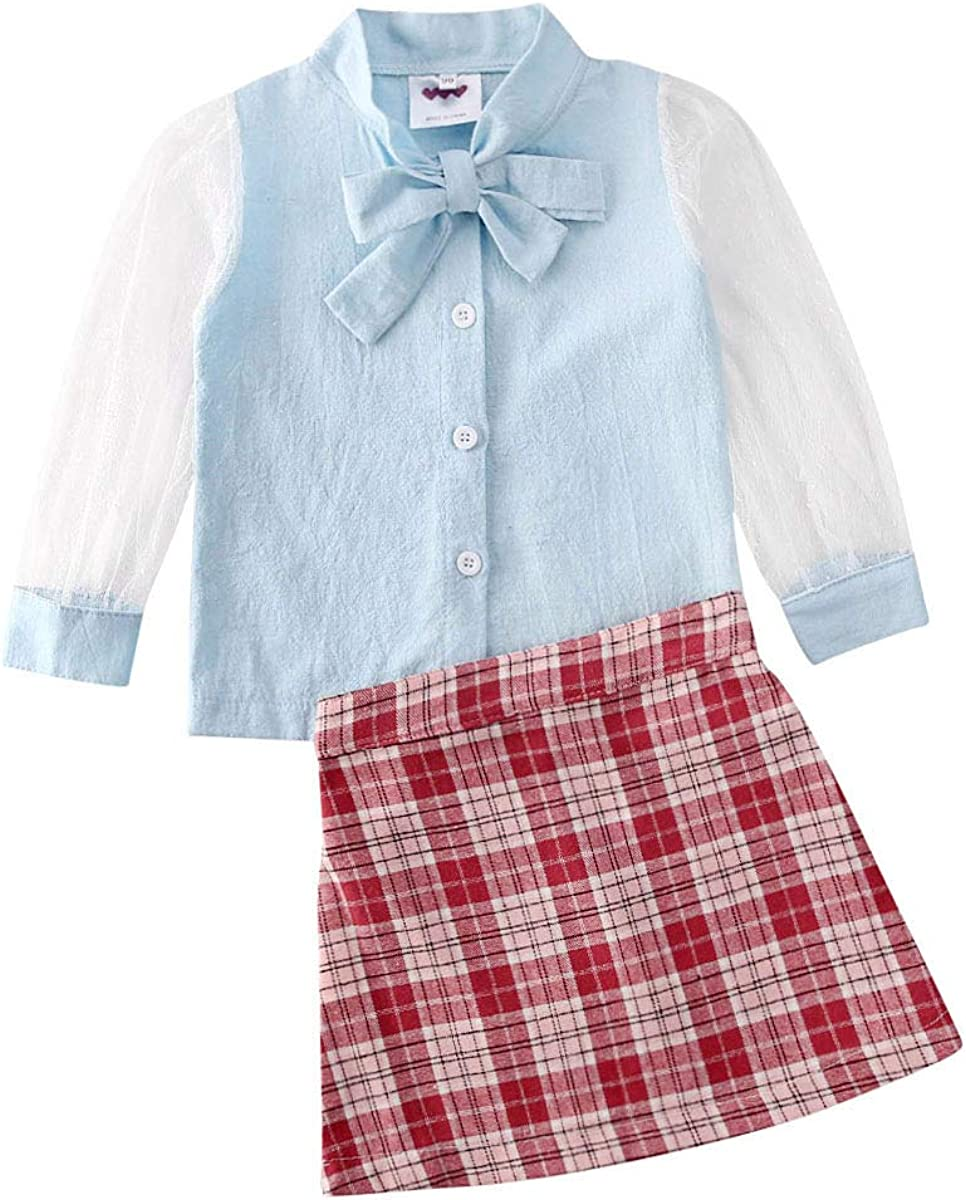 Popular Max 65% OFF overseas Children Clothes Breathable Lace Splicing Top Plaid Sleeve Long