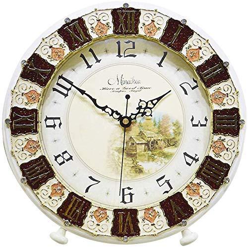 Yeeseu Reloj de mesa Familia relojes retro reloj de madera, estilo de cuarzo del reloj de tabla, decorativo de la sala dormitorio Tabla Adecuado Compatible with salón dormitorio Oficina (color, marrón