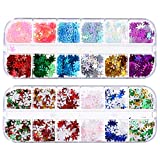 PIXNOR 2 Boxes Snowflake Sequins Holographic Snowflake Nail Sequins Christmas Nail Sparkly Confetti for DIY Nail Decoration