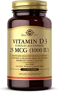 Solgar Vitamin D3 (Cholecalciferol) 25 MCG (1000 IU), 250 Softgels - Helps Maintain Healthy Bones & Teeth - Immune System ...
