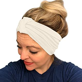 URIBAKE Women Stretch Headbands Solid Wide Hair Wrap Accessories Knot Headband
