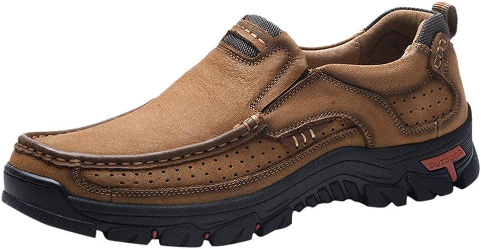 Ansenesna Chaussures de randonnée en Cuir pour Hommes en Plein air, à Bout Rond, résistantes à l'usure