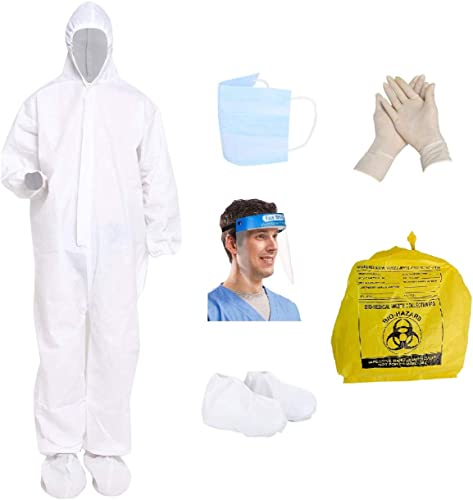 Nubilous PPE Safety Kit for Full Body Protection Non Suffocating Comfortable for Travelling 95 GSM Polyproplyene Material Free Size for Men Women White 1 PPE Kit Set