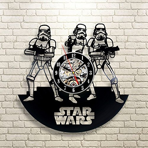 Stormtrooper Star Wars Art Vinyl Record Wall Clock Fan Gift Black Room Decor Idea