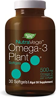 Nature's Way NutraVege Omega-3 Plant Based Supplement- Vegeterian, Vegan- 500 mg, 30 Count