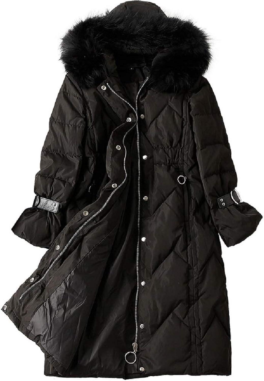 Aehoor Jacket Womens Winter Down Jacket Hooded Knee Slim Thick Warm 90% Duck Down