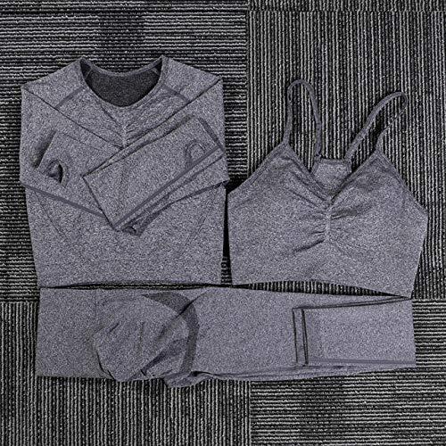 AAJIA,Ropa Deportiva,Mujeres Conjunto de Yoga sin Costuras Fitness Trajes Deportivos Gym Tela Yoga Camisas de Manga Larga Sujetador Deportivo Cintura Alta Leggings para Correr Entrenamiento,