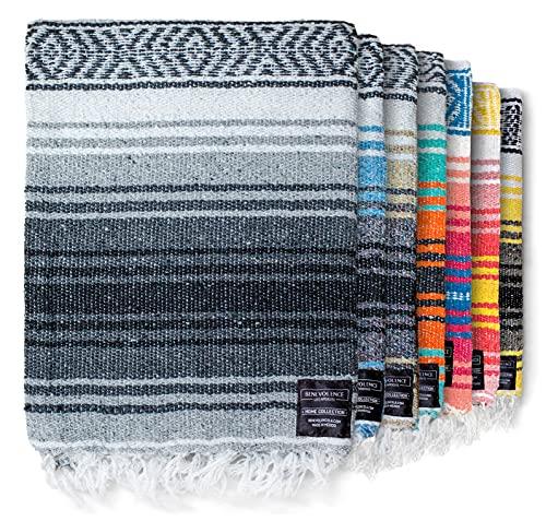 Authentic Mexican Blanket - Yoga Blanket, Handwoven Serape Blanket, Perfect as Beach Blanket, Picnic Blanket, Outdoor Blanket, Yoga Blanket, Camping Blanket, Car Blanket, Woven Blanket (Gray)