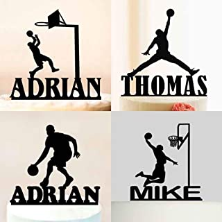 PotteLove Personalized Happy Birthday Cake Topper - Custom Name Basketball Cake Topper - Sport Party Cake Topper Boy Birthday Cake Decoration Acrylic Wood