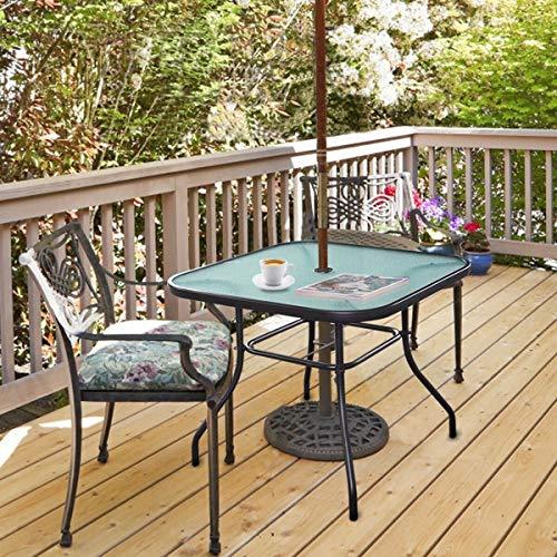 Alek...Shop Multi-Purpose Square Bar Table 32.5' Umbrella Outdoor Furniture Tempered Glass Steel Frame Garden Patio Pool