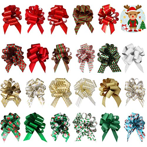 UNOMOR Christmas Pull Bows, 24PCS Different Patterns Present Wrapping Bows for Christmas Holiday Decoration