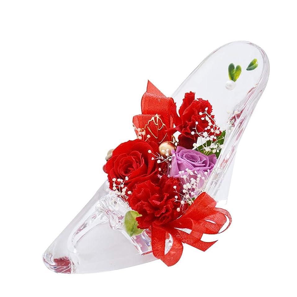 どんなときも困ったするだろう[florence du] プリザーブドフラワー バラ?カーネーションハイヒールアレンジメント レッド ガラスの靴 花 ギフト フラワーギフト 結婚 母の日 プレゼント 誕生日 シンデレラ プリンセス プロポーズ 祝い 記念日 母の日