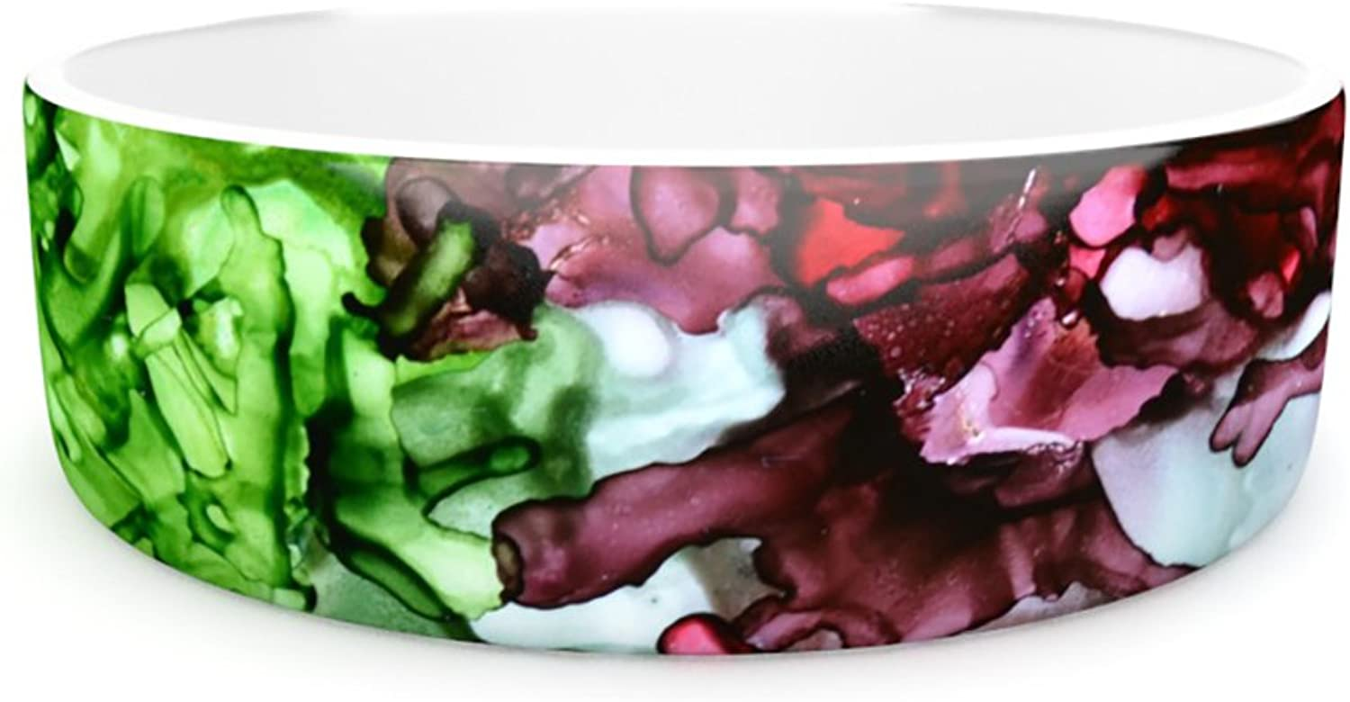 Kess InHouse Claire Day TMNT Pet Bowl, 7Inch, Green Maroon