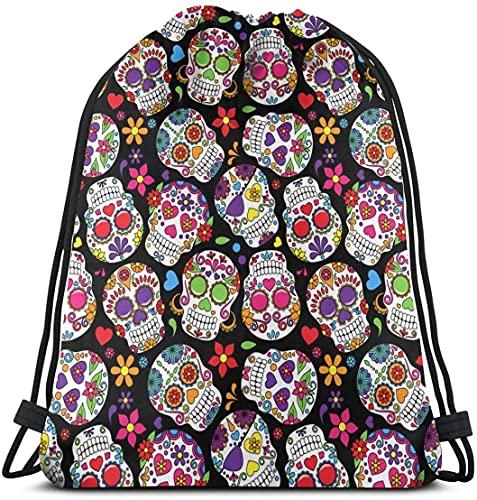 Dead Sugar Skull Floral Drawstring Backpack Waterproof Lightweight String Bags For Gym Sport Yoga Travel Outdoor