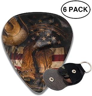 42b11ada879f49 American Flag Cowboy Boot Hat 351 Shape Celluloid Guitar Picks Plectrums 6  Pack Unique Designs -