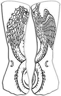 "GHEDPO Women's Men's Cool Colorful Casual Socks Casual Cotton Crew Socks Gift 19.7""(50cm) Image Fantastic Animal Ouroboros..."
