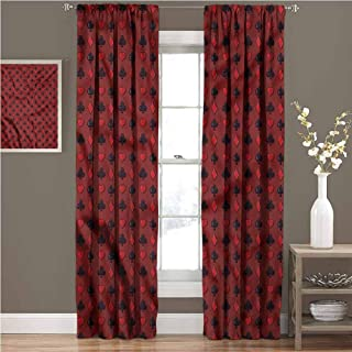 GUUVOR Poker Room Darkened Curtain Suits of Cards Symbols Spades Insulated Room Bedroom Darkened Curtains W72 x L96 Inch