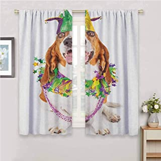 Jinguizi Mardi Gras Wall Curtain Happy Smiling Basset Hound Dog Wearing a Jester Hat Neck Garland Bead Necklace Window Decor Multicolor 63 x 72 inch