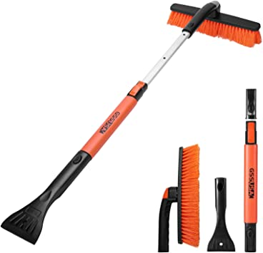 RUN STAR Snow Brush and Ice Scraper Foam Grip, Extendable and Detachable Snow Mover for Car Windshield, Auto Snow Brush Ice Removal with Soft Bristle Brush Head and Durable Aluminum Handle 38'': image