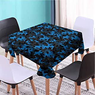 VICWOWONE Outdoor Square Tablecloth Camouflage Foldable (Square,W50 x L50) Dark Toned Pattern Equipment Masking and Hiding Uniform Attire Design Black Blue Army Green