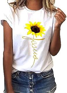 LuluZanm Sunflower Print T-Shirts for Women Sale Ladies Basic Summer Short Sleeve Tops Plus Size O-Neck Blouse