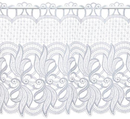 Plauener Spitze by Modespitze 68376_36, Tendine in Pizzo, 100% Poliestere, Altezza 36 cm, Bianco, Larghezza: 176 cm