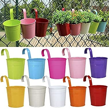 Ogima 10 Piece Metal Iron Hanging Flower Pots, Multicolor
