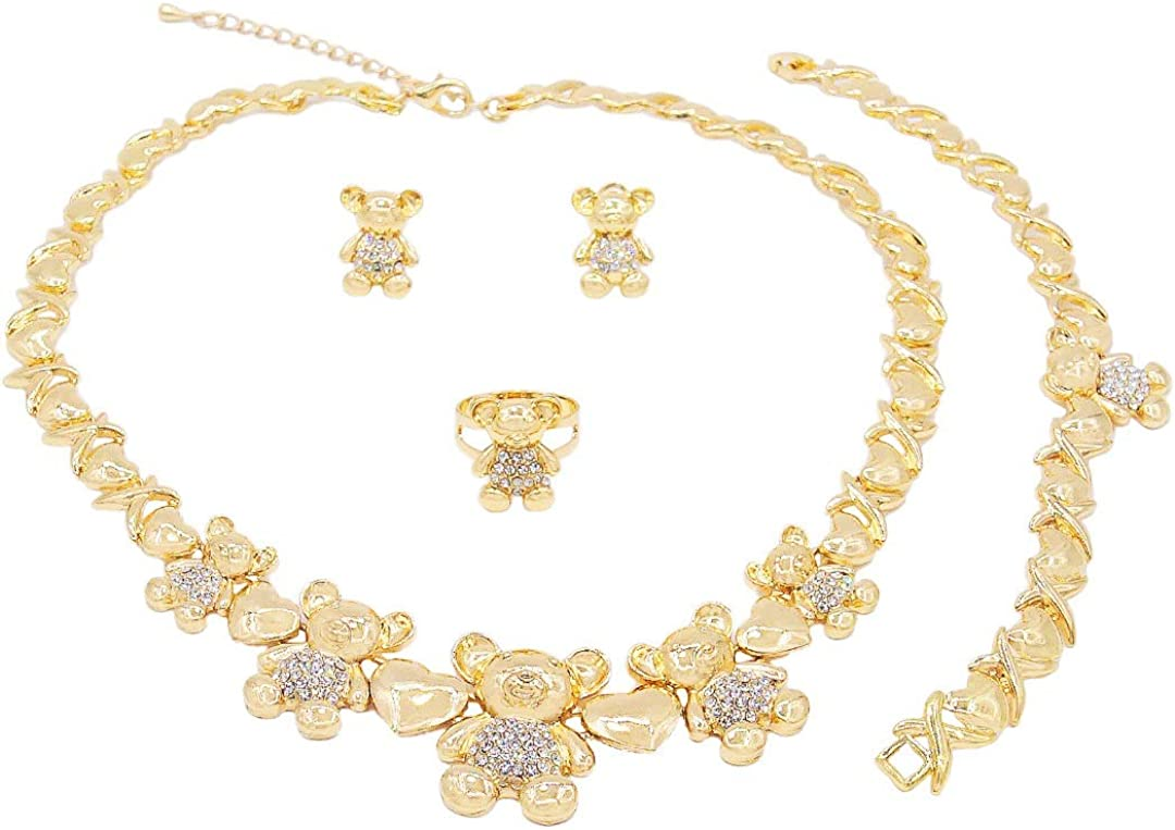 Women's Girl's Hugs & Kisses XOXO 4 Pieces Necklace Set Teddy Bear Charm Necklace Ring Bracelet & Earrings Set Layered Real Gold Plated #86