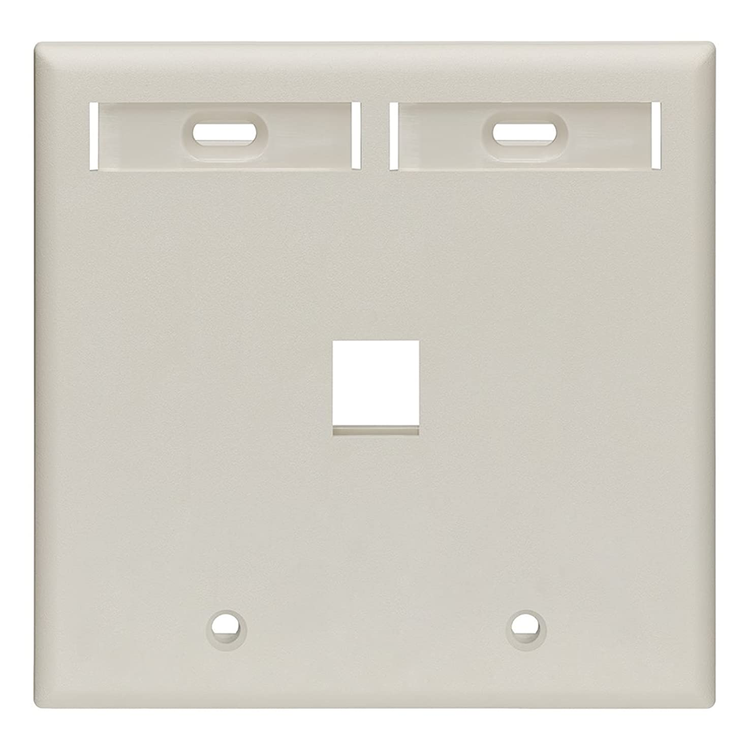Leviton 42080-1TP 1-Port Dual Gang QuickPort Wallplate with ID Windows, Light Almond