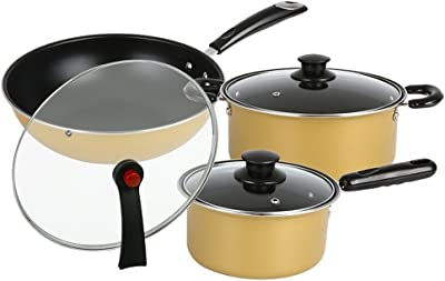 CHAOYUE1806 Fine Iron Kitchen Cookware Set Three-piece 24cm Soup Pot 18cm Milk Pot 30cm Wok Nonstick Uncoated,With Cover