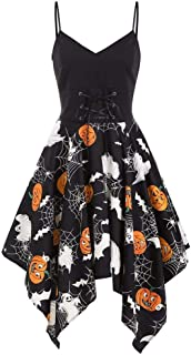Halloween One-Piece Retro Dress, Women Stripe Pumpkin Ghost Spider Web Printing Women's 1950s Vintage Strappy V- Neck Irregular A Line Cocktail Swing Party Dress Costumes