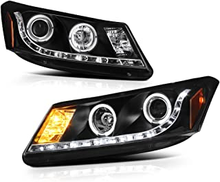[For 2008-2012 Honda Accord Sedan] LED Halo Ring Black Projector Headlight Headlamp Assembly, Driver & Passenger Side